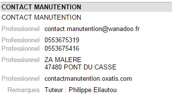 Contact manutention