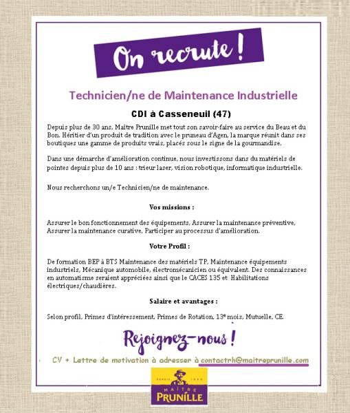 Technicien de maintenance industrielle maitre prunille